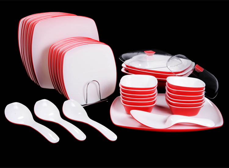 Deluxe (Double Colour) Acrylic 34 Pcs Dinner Set Square : acrylic dinner plates - pezcame.com